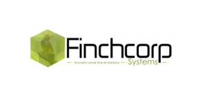 Text saying Finchcorp innovation comes from all directions systems with a green hexagon with a bird inside to the left. on a transparent background