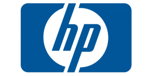 Blue text saying HP in a transparent circle surrounded by a blue rectangle