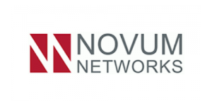 Gray text saying Novum Networks with a red box with a white N inside on a white background