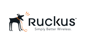 Black text saying Ruckus simple better wireless with a black dog barking on a transparent background