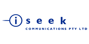blue text saying Seek communications pty ltd with an i in a circle to the left on a transparent background