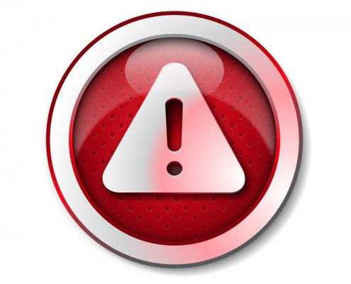 Red circle security alert symbol with exlamation mark